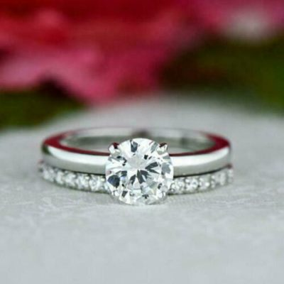 1.47 CT Round Cut Moissanite 4-Prong With Accents Wedding Gift Ring Set 14K White Gold