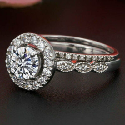 1.38 CT Round Cut Moissanite Halo Vintage Art-Deco Wedding Ring Set 925 Sterling Silver