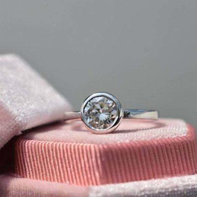 1.25 CT Brilliant Cut Moissanite Bezel Bridal Anniversary Ring 10K White Gold