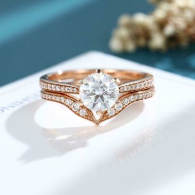 1.47 CT Near White Round Cut Moissanite 6-Prong Engagement Ring Set 925 Sterling Silver