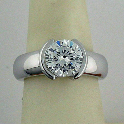 1.07 CT Brilliant Cut Moissanite Half Bezel Engagement Ring 14K White Gold