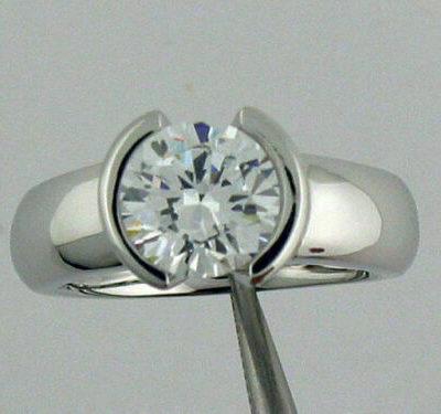 1.07 CT Brilliant Cut Moissanite Half Bezel Engagement Ring 14K White Gold