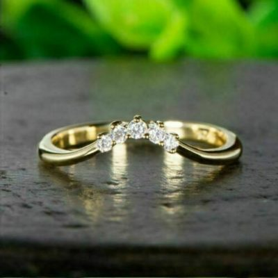 14K Yellow Gold 0.72 CT Round Cut Moissanite 5-Stone Curved Wedding Band Anniversary Ring Band