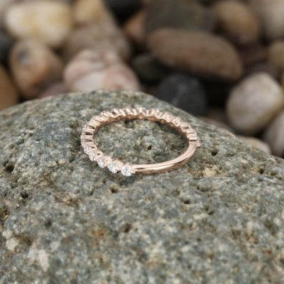 0.50 CT Round Cut Moissanite Half Eternity Anniversary Gift Ring 14K Rose Gold Plated