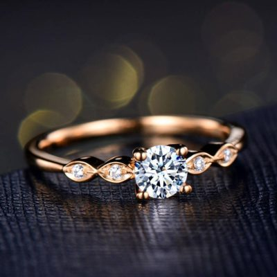 1.20 CT Round Cut Moissanite Solitaire Art-Deco Engagement Ring 14K Rose Gold