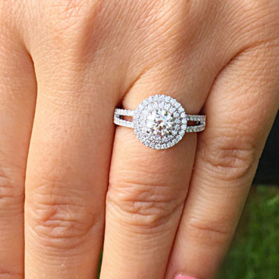 1.15 CT Forever Cut Moissanite Double Halo Engagement Ring 14K White Gold