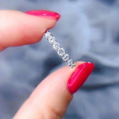 1.30 CT Round Cut Moissanite 7-Stone Half Eternity Wedding Ring Band 14K White Gold
