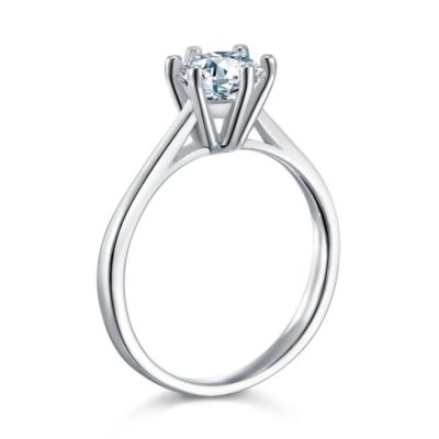 1.00 CT Round Cut Moissanite Solitaire Wedding Engagement Ring 925 Sterling Silver