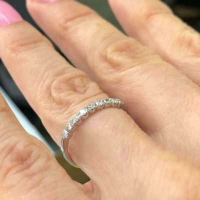 0.40 Ct Round Cut Moissanite Half Eternity Classic Wedding Band 14K White Gold
