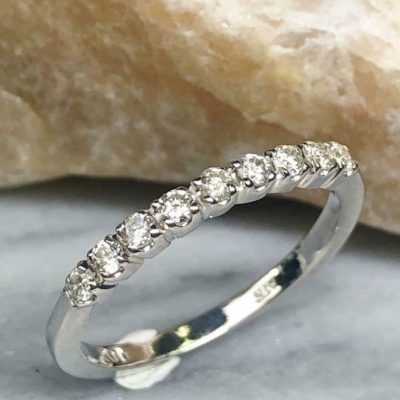 0.40 Ct Round Cut Moissanite Half Eternity Classic Wedding Band 14K White Gold