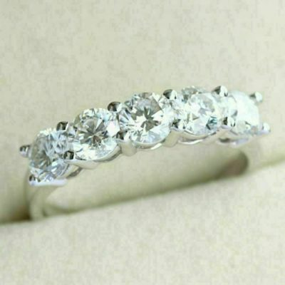 2.00 Ctw Round Cut 5-Stone Moissanite Wedding Engagement Band 14k White Gold