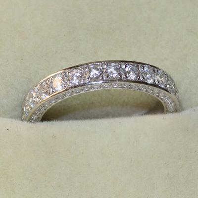 2.80 CT Brilliant Cut Diamond 3-Row Bridal Wedding Band 925 Sterling Silver