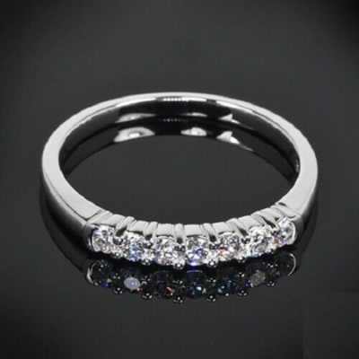 1.00 CT Round Cut Moissanite 7-Stone Half Eternity Engagement Ring 14K White Gold