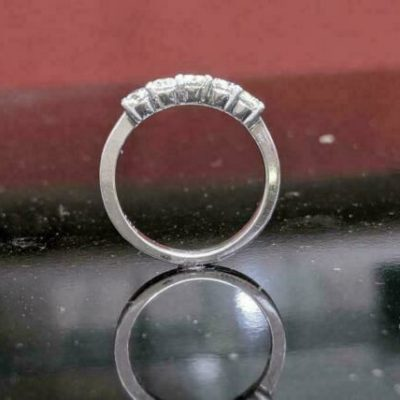 1.56 CT Brilliant Cut Moissanite 5-Stone Engagement Gift Band 925 Sterling Silver