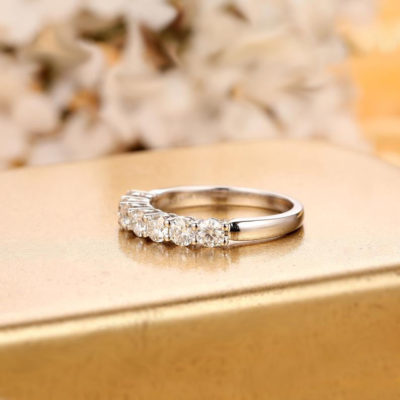 2.10 Excellent Cut Moissanite 7-Stone Half Eternity Wedding Band 10K White Gold