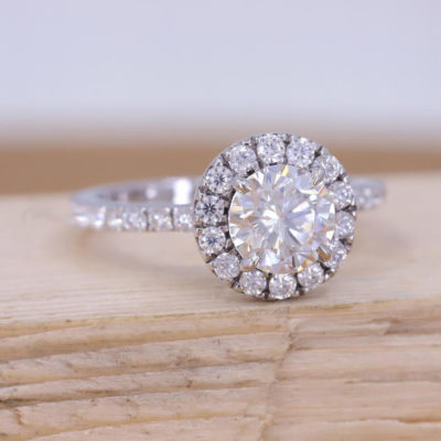 1.10 CT Center Round Cut Moissanite 925 Sterling Silver Halo Engagement Promise Ring