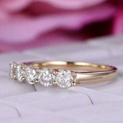 1.50 CT Round Cut Moissanite 5-Stone Half Eternity Wedding Band 14K Yellow Gold