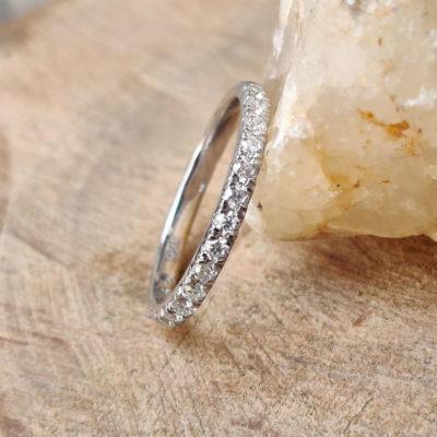 0.33 CT Excellent Cut Moissanite Half Eternity Wedding Gift Band 14K White Gold