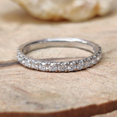 0.33 CT Excellent Cut Moissanite Half Eternity Wedding Gift Band 14K White Gold