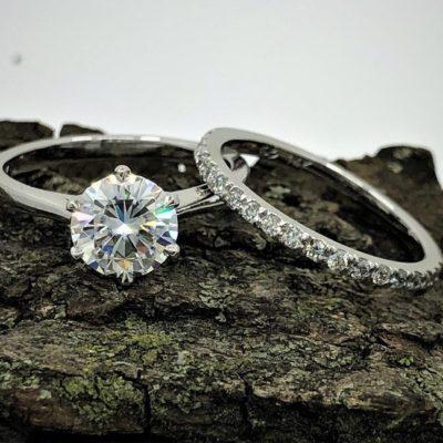 1.20 CT Center Round Cut Moissanite Solitaire Bridal Wedding Ring Set 14K White Gold