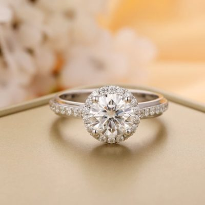 Classic 1.40 Ct Brilliant Cut Moissanite Halo Engagement Ring 10K White Gold Plated