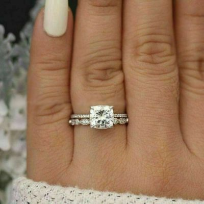 1.51 CT Center Cushion Cut Diamond Solitaire Bridal Wedding Ring Set 14K White Gold