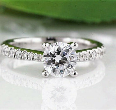 1.25 CT Excellent Cut Moissanite solitaire Anniversary Ring 10K White Gold Plated