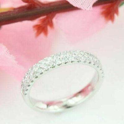 0.65 CT Brilliant Cut Moissanite Half Eternity Unique Bridal Wedding Band 14K White Gold