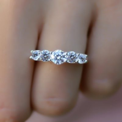 1.60 CT Excellent Cut Moissanite 5-Stone Solitaire Engagement Ring 14K White Gold