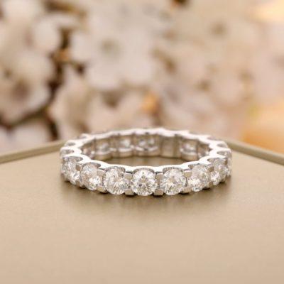 3.00 CT Brilliant Cut Moissanite Full Eternity Bridal Wedding Band 14K White Gold