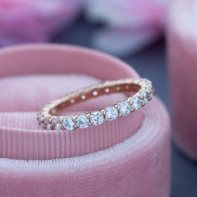 14K Rose Gold 2.50 CT Round Cut Moissanite Full Eternity Bridal Wedding Ring