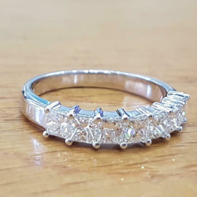 2.50 CT Princess Cut Diamond Half Eternity Unique Wedding Band 14K White Gold