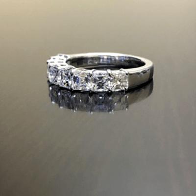 2.00 Ct Asscher Diamond 7-Stone Half Eternity Wedding Band 14K White Gold