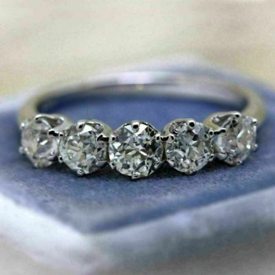 14K White Gold 2.00 Ct Round Cut Moissanite 5-Stone Solitaire Engagement Band