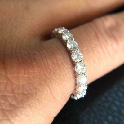 2.50 CT Brilliant Cut Moissanite Full Eternity Wedding Band 14K White Gold