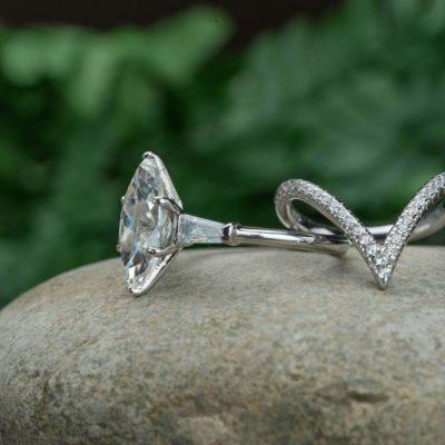 2.20 Ct Marquise Cut Diamond Curve Band Wedding Ring Set 10K White Gold