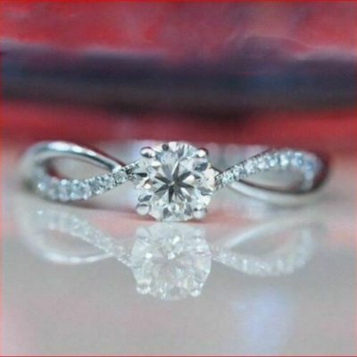 1.25 Ct Brilliant Cut Moissanite Twisted Accents Anniversary Ring 14K White Gold