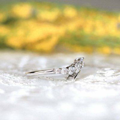 0.80 CT Round Cut Moissanite 5-Stone Unique Wedding Band 14K White Gold