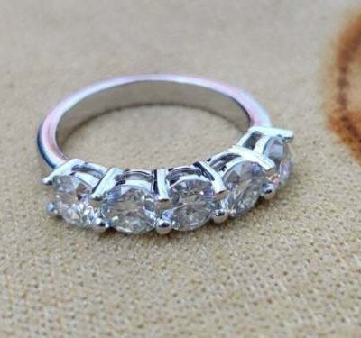 2.00 CT Round Cut Moissanite 5-Stone Half Eternity Wedding Band 14K White Gold