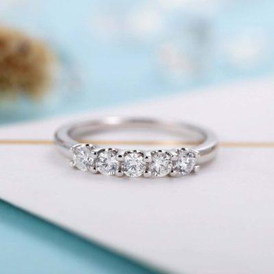 5-Stone 1 CT Round Moissanite Half Eternity Unique Wedding Band 14K White Gold