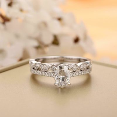 1.48 Ct Oval Cut Moissanite Solitaire Wedding Ring Set 14K White Gold Over