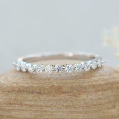 1.75 CT Brilliant Cut Diamond Half Eternity Wedding Band 925 Sterling Silver