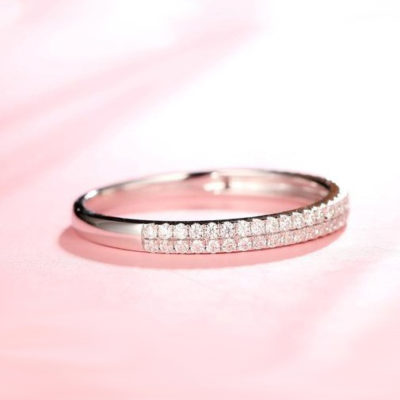 0.33 CT Round Cut Moissanite 2-Row Accents Bridal Wedding Band 14K White Gold