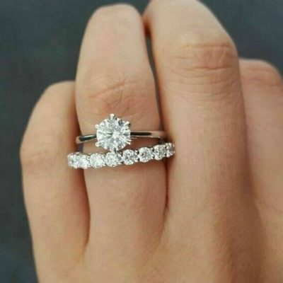 1.40 CT Near White Round VVS1 Moissanite Wedding Ring Set 14K White Gold