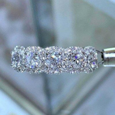 1.50 Ct Brilliant Cut Moissanite 5-Stone Halo Anniversary Ring 10K White Gold Over