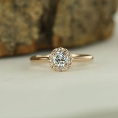 1.25 Ct Center Round Moissanite Solid 14K Rose Gold Halo Anniversary Ring