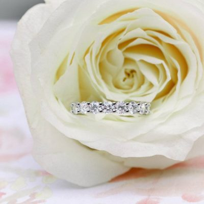 1.85 Cut Round Cut Moissanite Full Eternity Wedding Band 14K White Gold