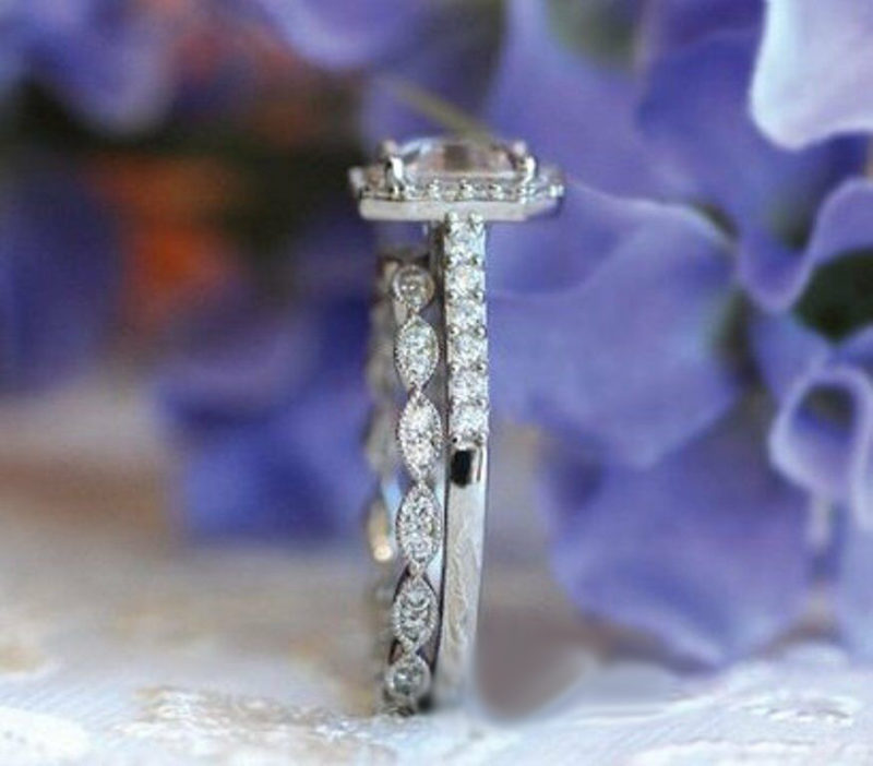 1.70 Ct Asscher Cut Diamond Halo Art-Deco Band Wedding Ring Set 14K White Gold