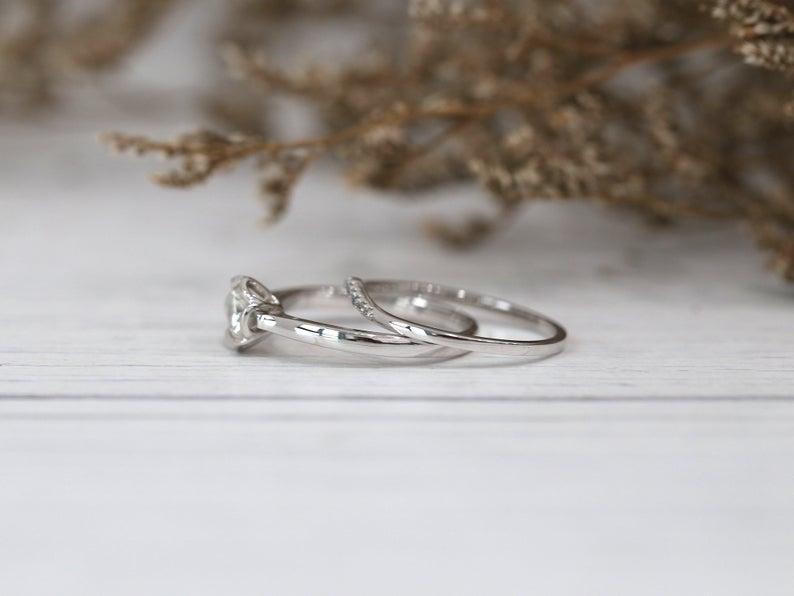 1.38 Ct Round Cut Moissanite Unique Bezel Wedding Ring Set 14K White Gold