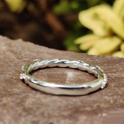 0.23 Ct Round Moissanite Twisted Vintage Half Eternity Wedding Band 14K White Gold